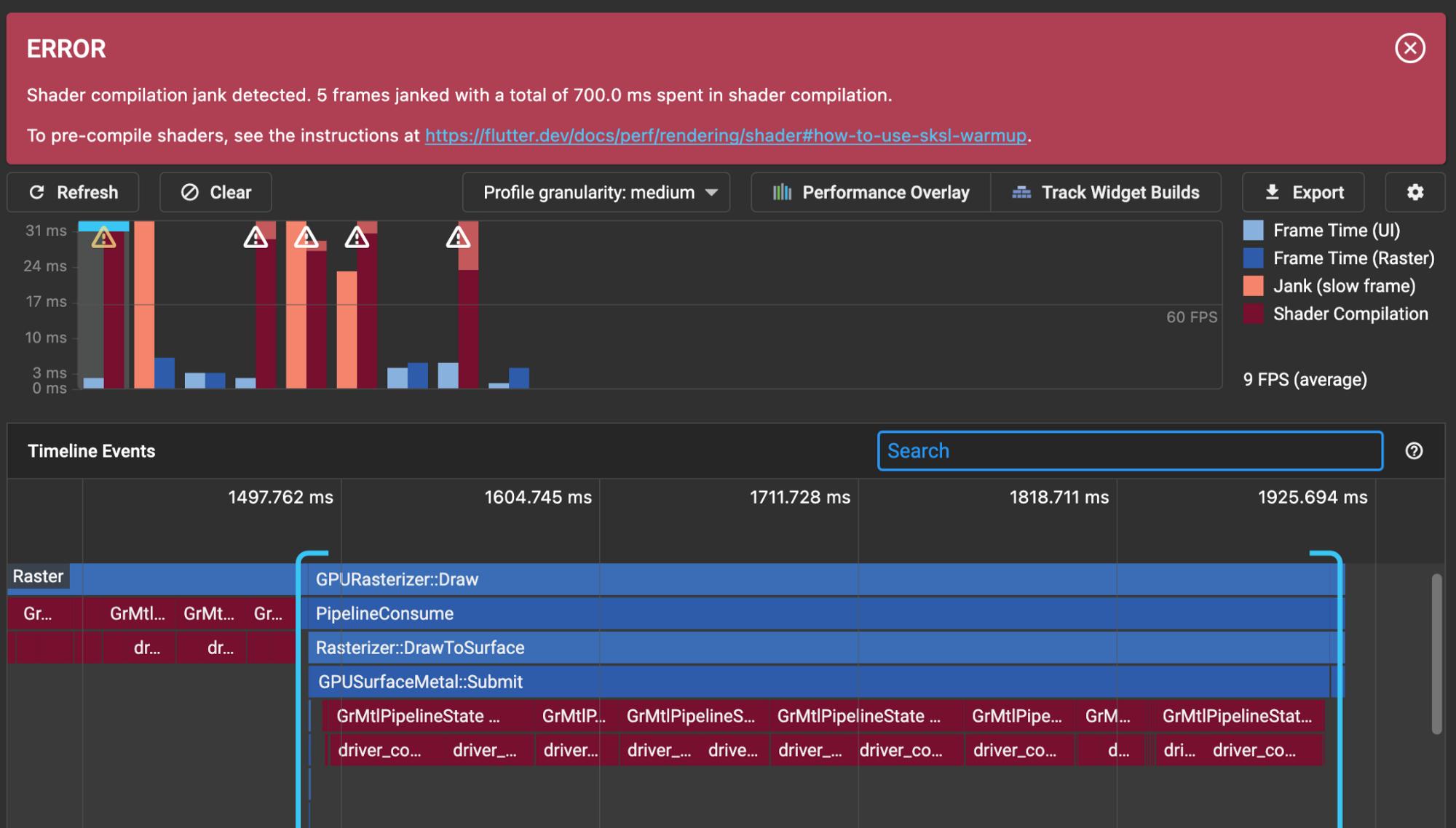 DevTools 检测到因着色器编译而丢失的构建帧